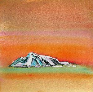 Arctic-Island-Sketch-Orange-Sky-10x10-Watercolour-Ink-2001-300x297