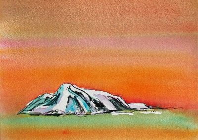 Arctic-Island-Sketch-Orange-Sky-10x10-Watercolour-Ink-2001-400x284