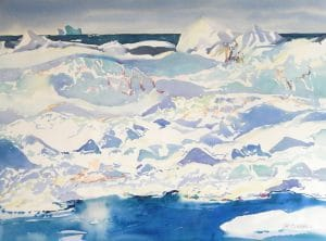 Arctic-Summer-Ice-1-22x30-Watercolour-1999-300x222