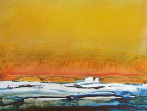 High-Arctic-Series-07-Sea-Ice-Yellow-Sky-36x48-acrylic-on-canvas-300x226
