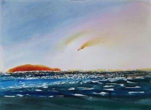 Light-Show-on-Devon-Bay-22x30-watercolour-2009-300x220