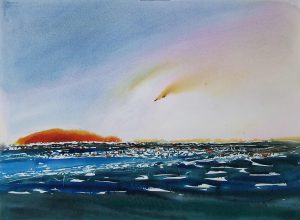 Light-Show-on-a-Devon-Bay-22x30-watercolour-2009-300x220