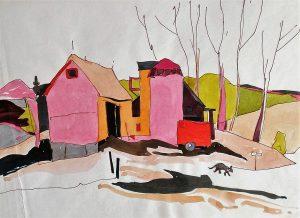 Ontario-Farmhouse-with-Dog-8.5x11-Watercolour-Ink-1960-300x218