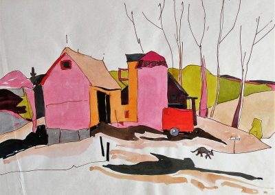 Ontario-Farmhouse-with-Dog-8.5x11-Watercolour-Ink-1960-400x284