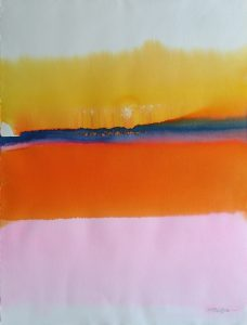 Orange-Pink-Yellow-Stripe-1-30x22-Watercolour-Gold-Ink-1985-1-228x300