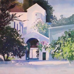 Paliani-Convent-2-Crete-28x28-Watercolour-1994-298x300