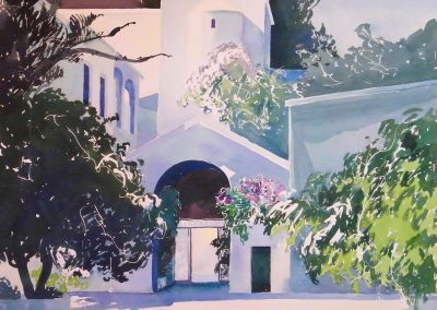 Paliani-Convent-2-Crete-28x28-Watercolour-1994-400x284