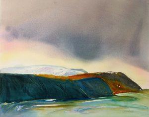 Sea-Cliffs-Under-Ice-Devon-Island-1-22x28-Watercolour-2009-Silverberg-300x236